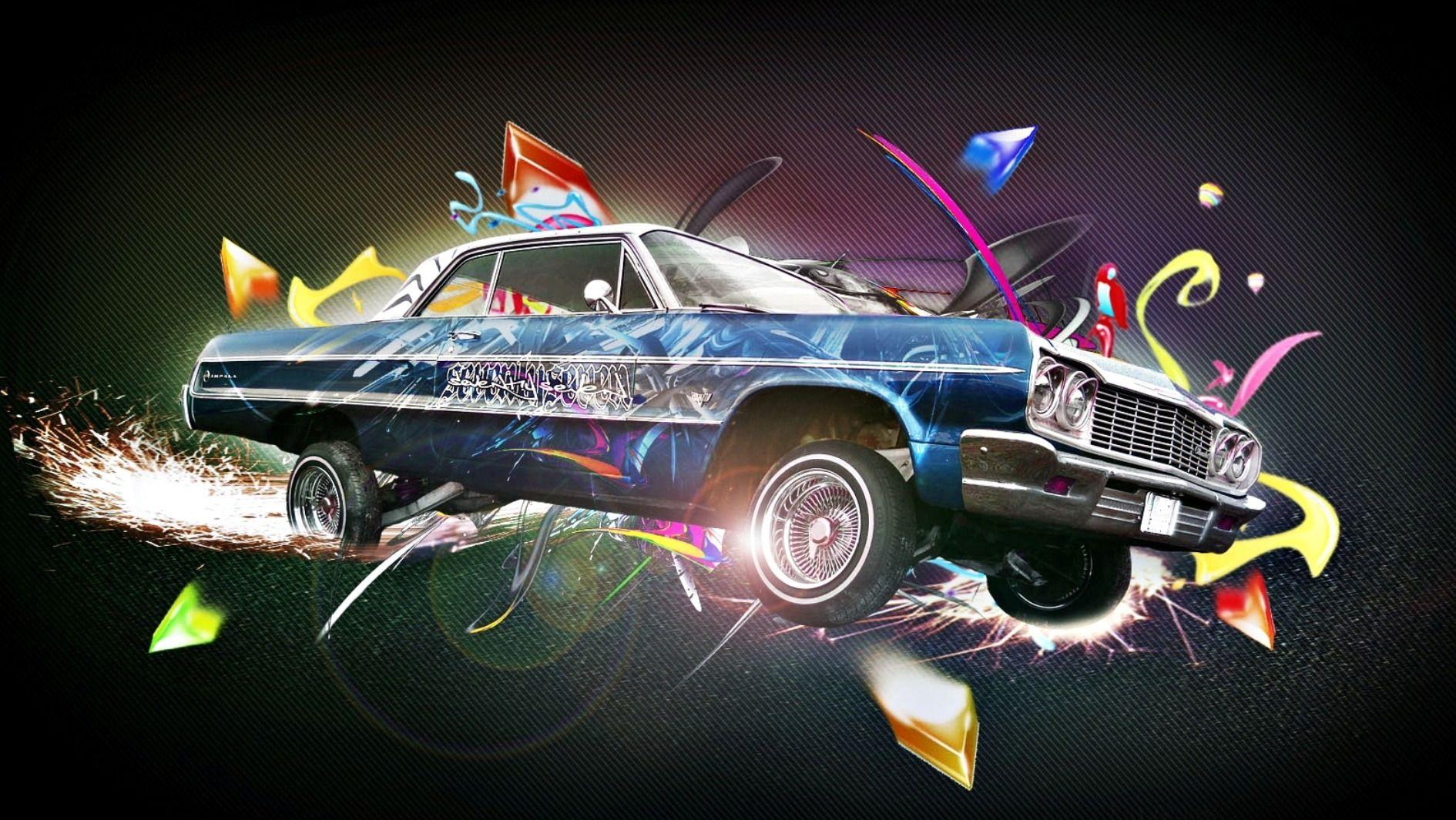 Blue 1964 Impala Lowrider And Graphics Hd Wallpaper Lowrider Cars Lowriders Car Wallpapers