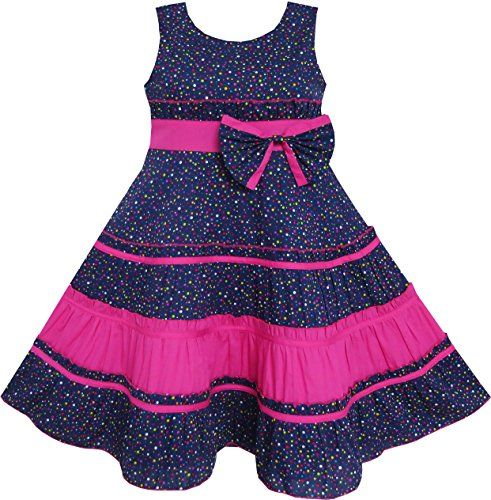 Sunny Fashion Big Girls Dress Bow Tie Polka Dot Print Striped Pattern Pink Blue 14 >>> Check this awesome product by going to the link at the image.