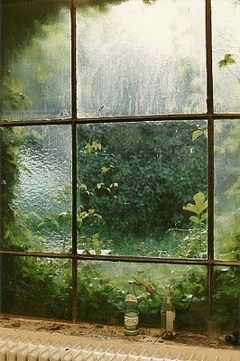From inside, the windows are closed by the green outside.  From outside, the windows look like the eyes of the green, and we, the souls of the house, inside seem.