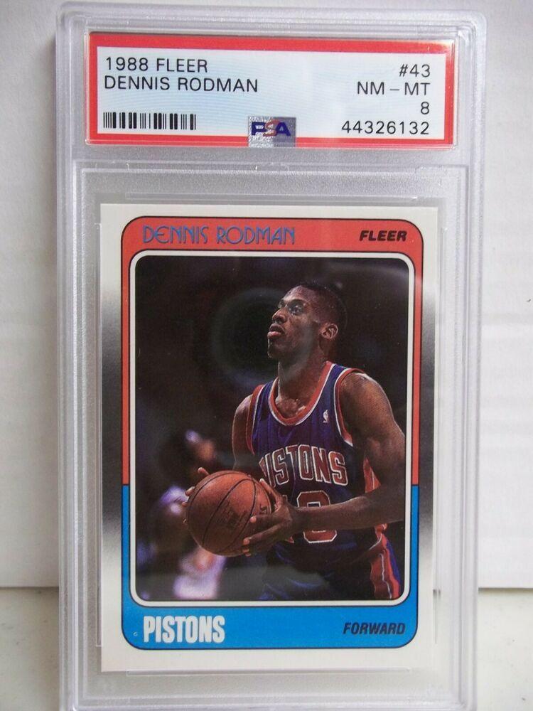 1988 fleer dennis rodman rc psa nmmt 8 basketball card