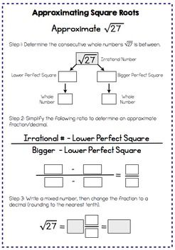 Estimating Square Roots - Interactive Notes and Worksheet | print ...