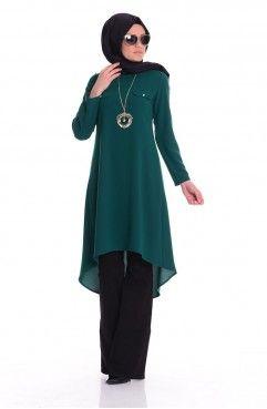 Sefamerve Pile Detayli Dugmeli Tunik 1072 09 Cagla Yesil Tunic Tops Outfit Muslim Fashion Fashion