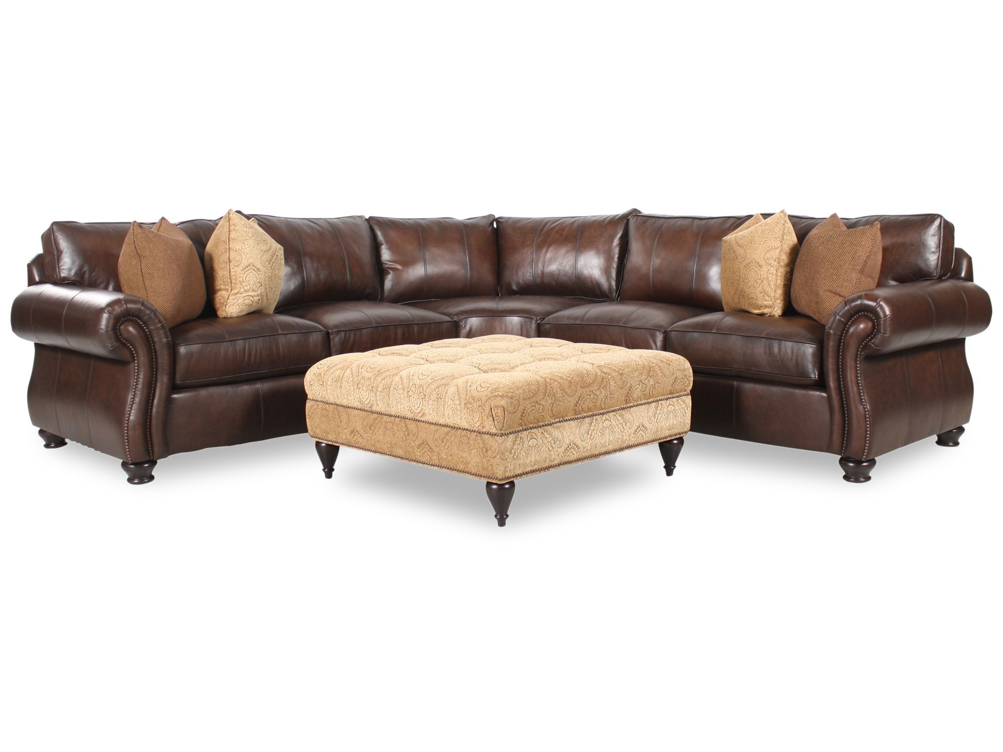 Bernhardt Van Gogh Two Piece Leather Sectional with Square Fabric