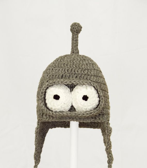 Bending Robot Earflap Hat, Gray Cartoon Crochet Beanie, any size baby - adult
