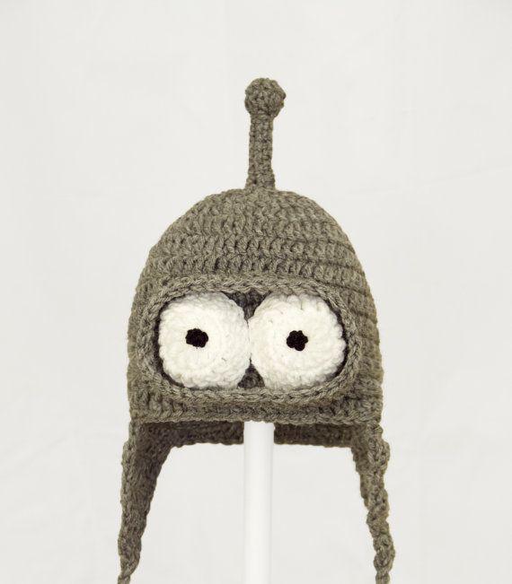 Bending Robot Earflap Hat, Gray Cartoon Crochet Beanie, any size ...