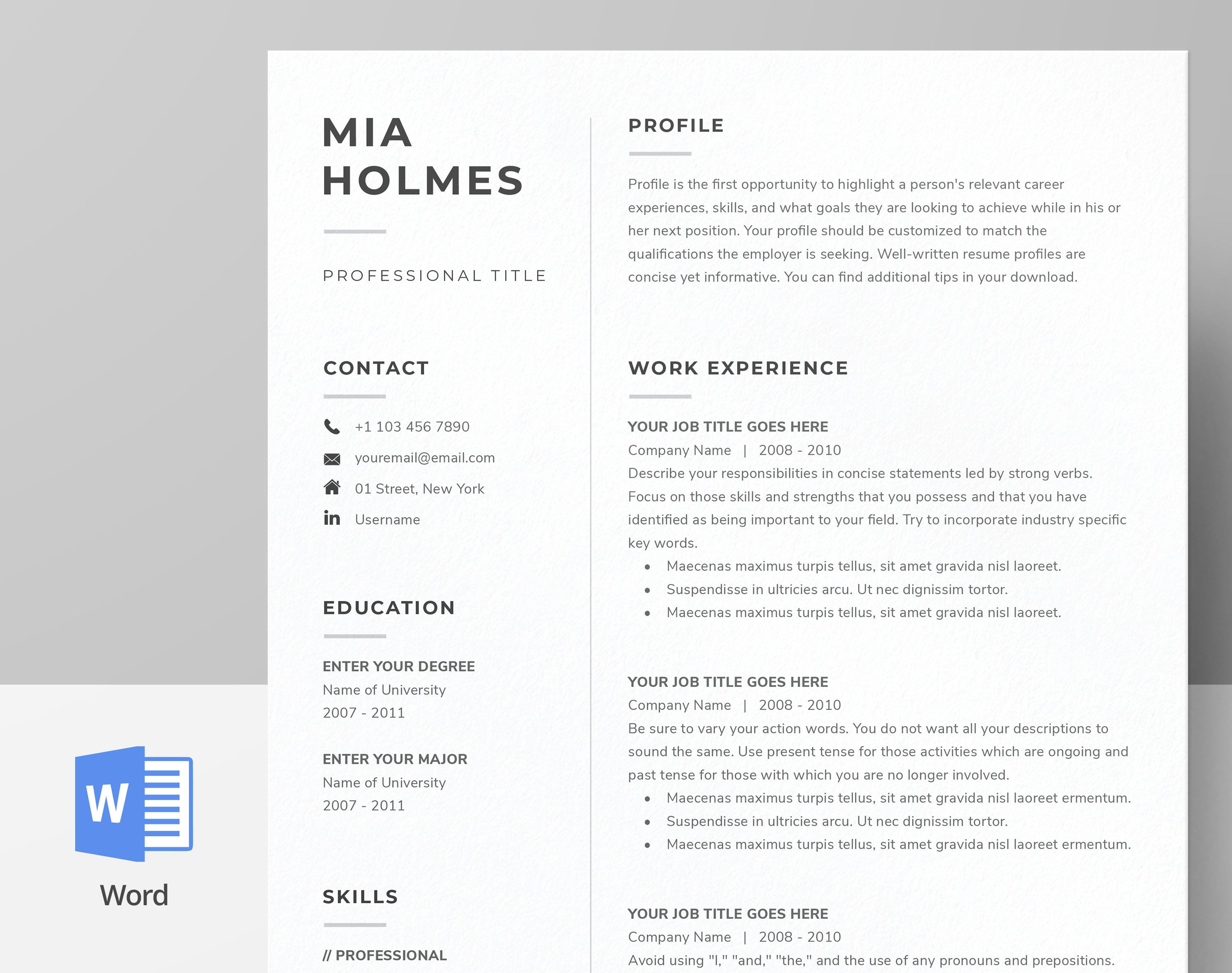 Resume Template for Word Pages Cover Letter Template