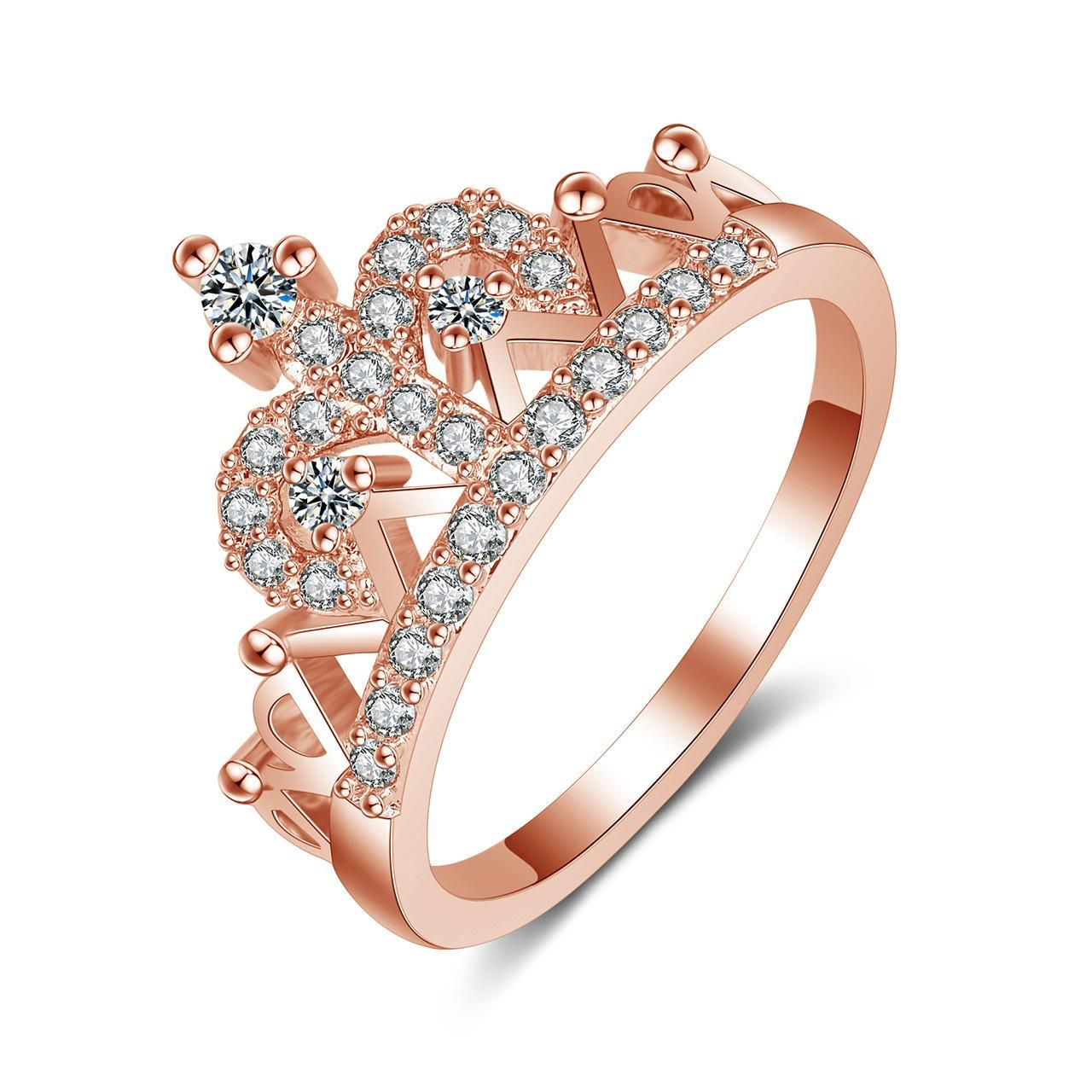 2019 K Gold Plated Zircon Crown Wedding Rings For Women