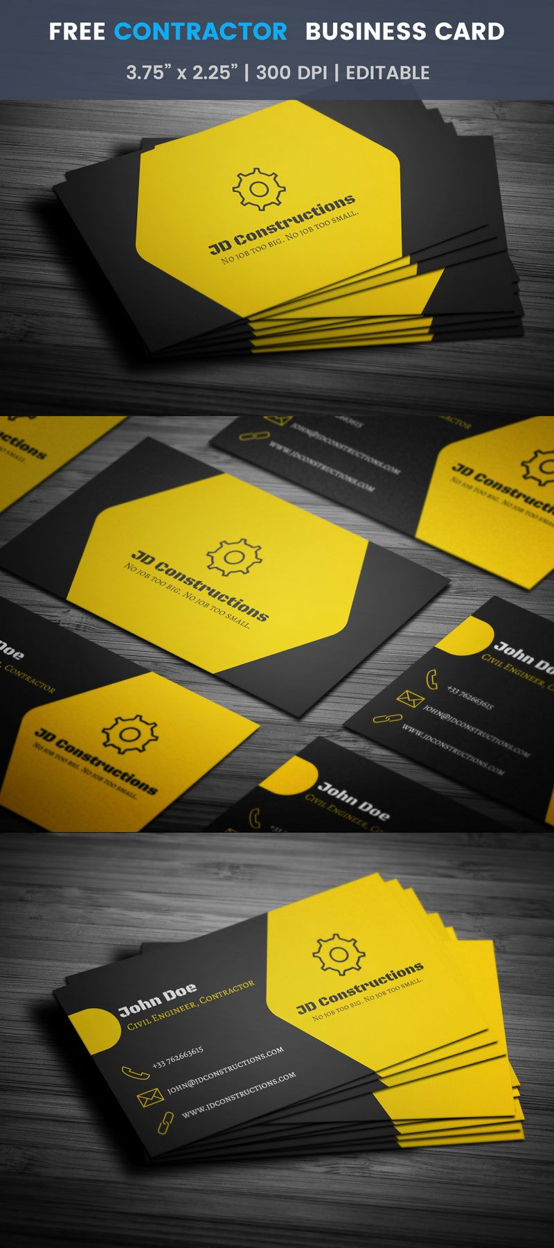 Civil Engineer And Contractor Business Card Full Preview Company Business Cards Examples Of Business Cards Construction Business Cards