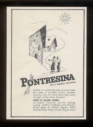 Vintage Ski Advert For Pontresina 1939 On Ebay