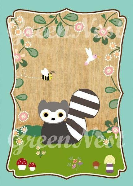Waschbär von VintagePaperGoods - GreenNest auf DaWanda.com
