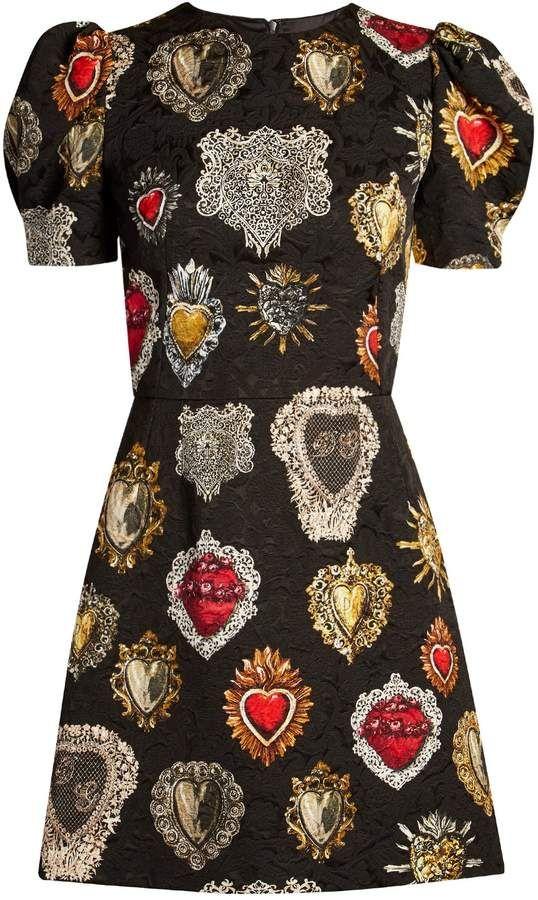 8374be8e05 Dolce   Gabbana Heart-print puff-sleeved mini dress