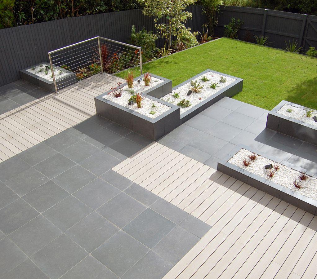 Modern Italian Garden Design: Italian Limestone Midnight Paving