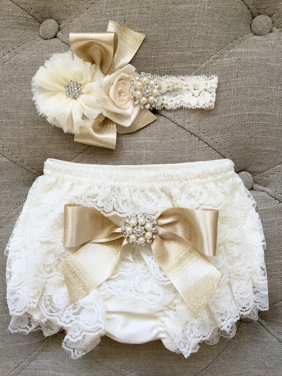 cead3fa2ca887 Ivory and gold Lace Ruffled Baby Bloomers and headband set | The Baby Bella  Boutique | Baby bloomers, New baby products, Baby