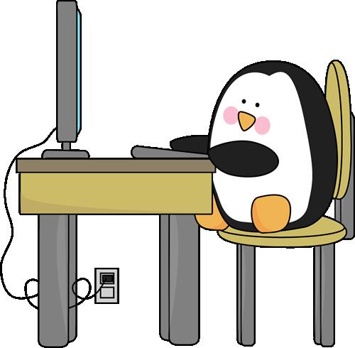 Penguin Using A Computer