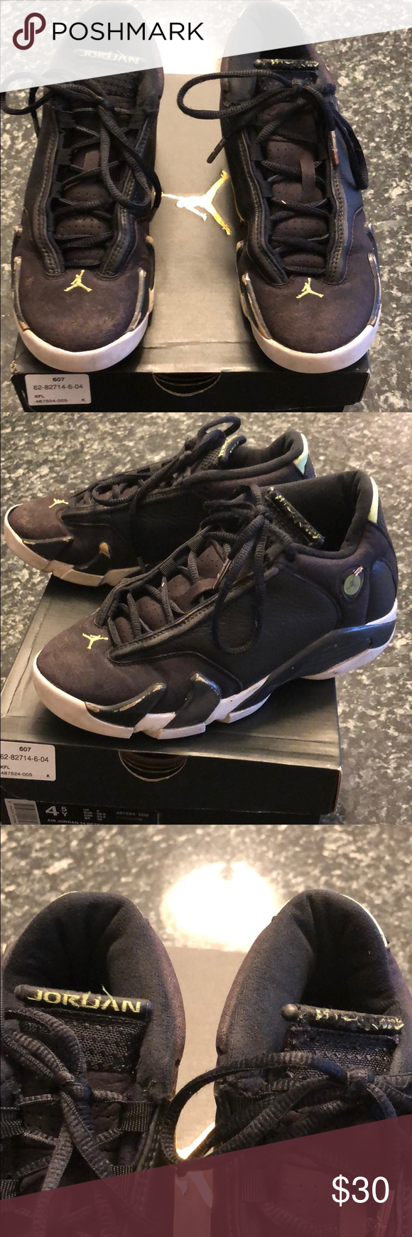 e9d3c15f30fad9 Air Jordan 14 Retro BG Size 4.5Y Used but still functional black Air  Jordan s.