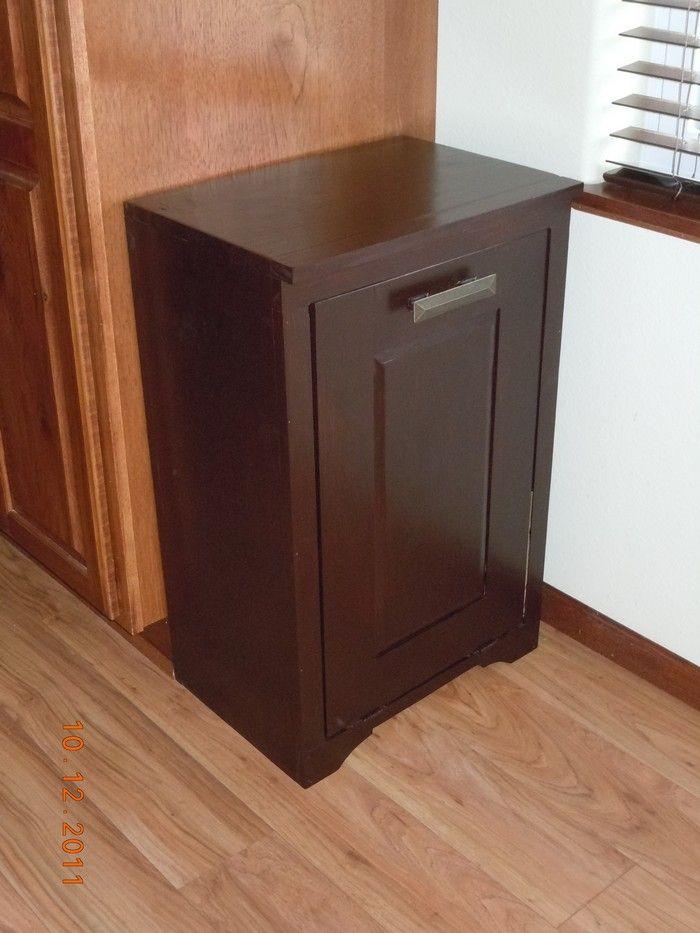 hide your trash bin by building a tilt out trash cabinet tilt rh pinterest com  bronze kitchen trash can with lid