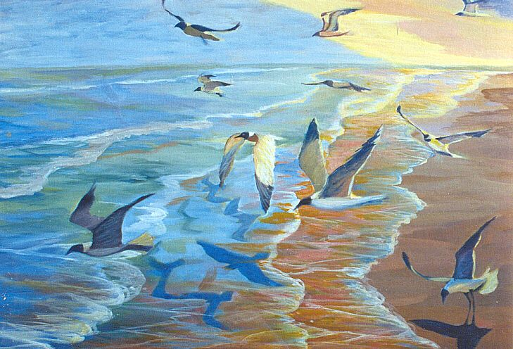Painting Of Sea Gulls Over Galveston Tx Beach Painting Art