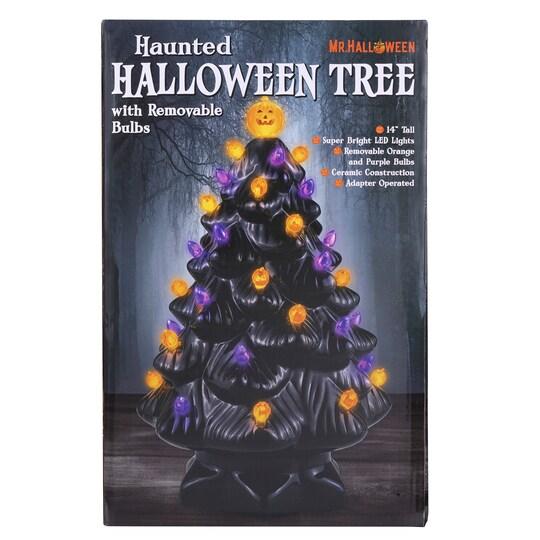 "14"" Black Ceramic Halloween Tree with Bulbs Michaels"