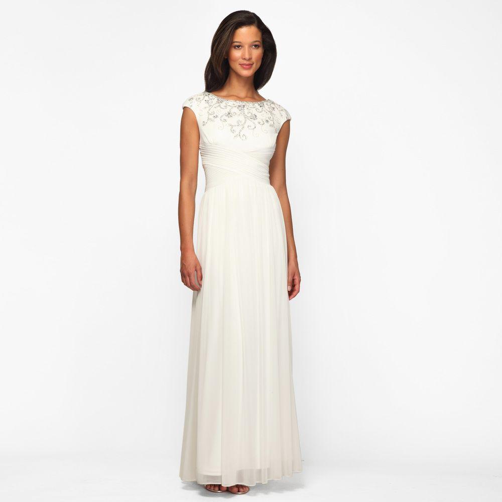 Cocktail dress wedding  Alex Evenings Womenus Ivory Pleated Waist Long Formal Dress  Style