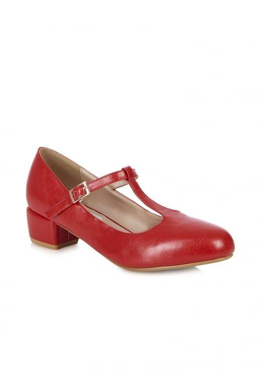 Collectif Lulu Hun 40s 50s Style Chrissie Red Block Heel Shoes