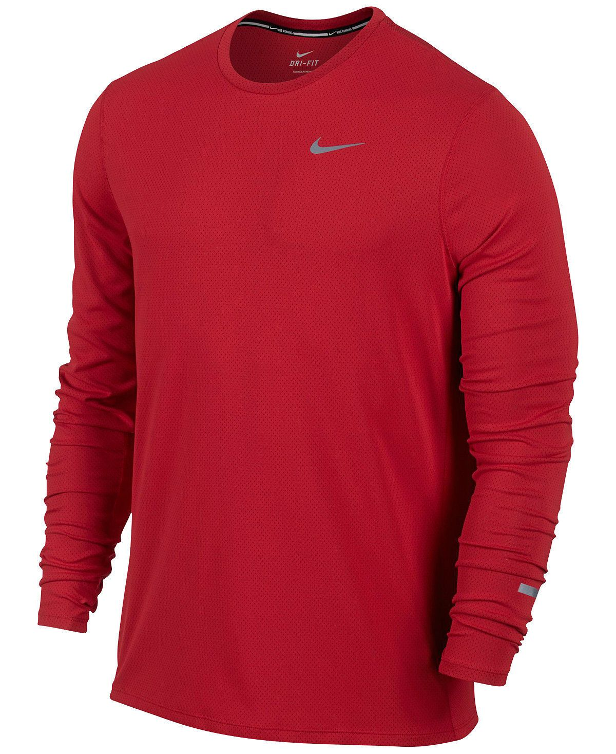 Men Athletics: Nwt Nike Running Contour Long Sleeve Shirt Dri-Fit Crew Tee  849954