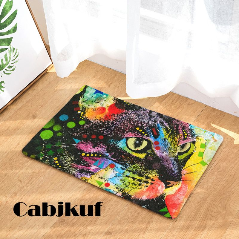 Fashion Style Color Painting Cat Print Carpets Anti Slip Floor Mat Outdoor Rugs Creative Front Door Mats Carpet Sale Flooring Floor Mats