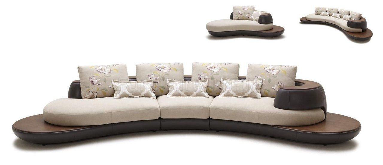 Best Beige Brown Fabric Leather Modern Sectional Sofa W Chaise 400 x 300