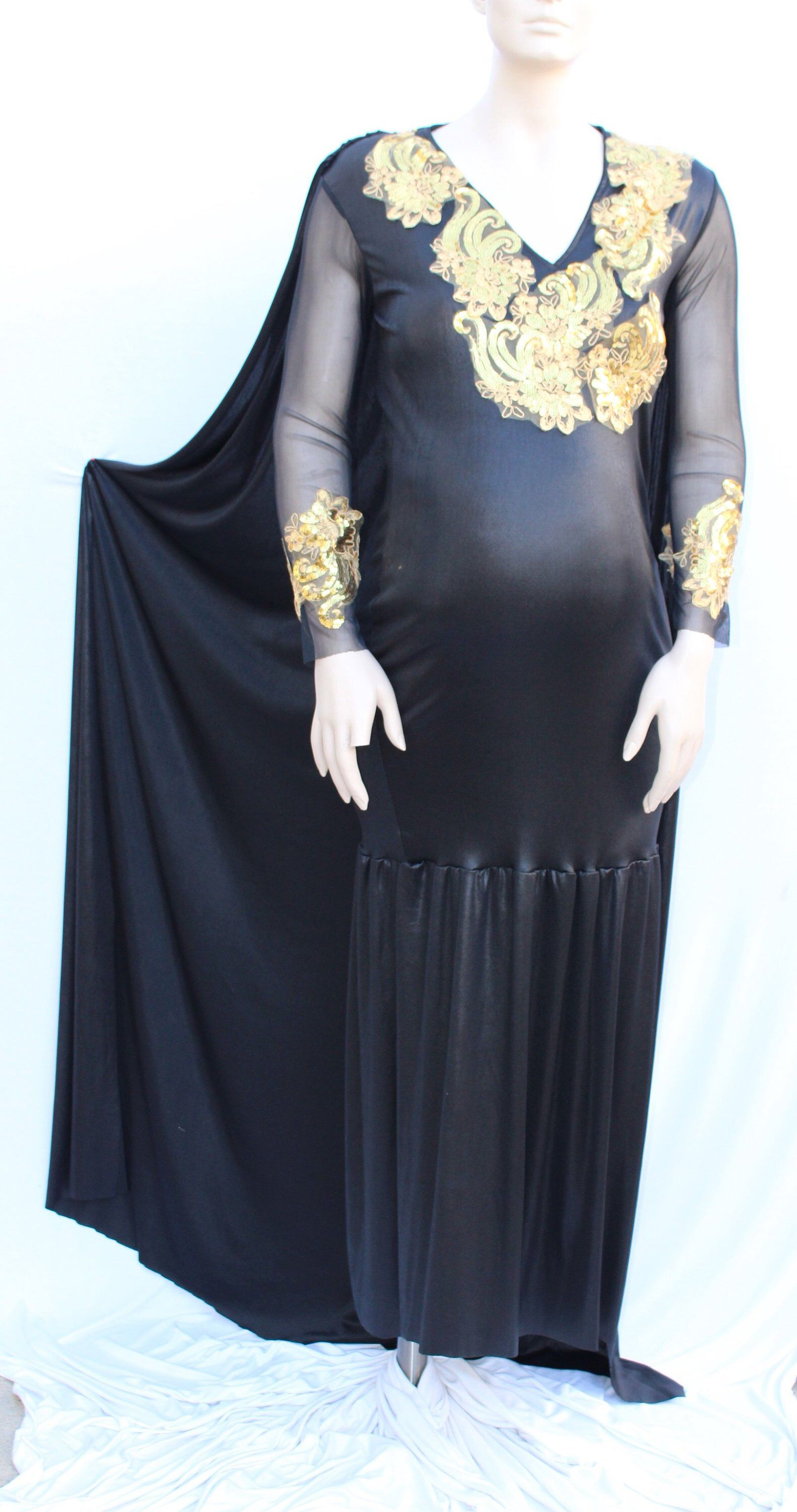 Ready to ship maternity vneckline black dress with gold laced