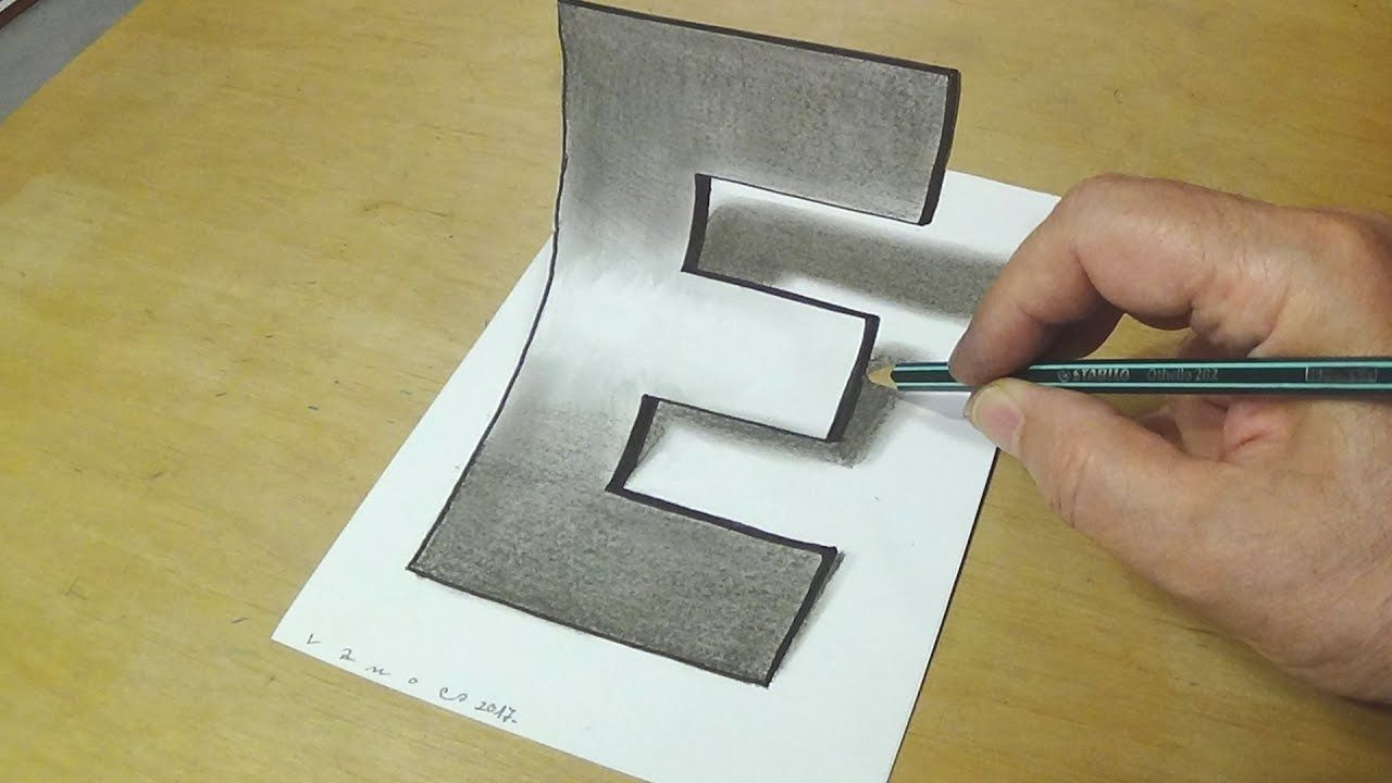 Easy trick art drawing how to draw 3d letter e anamorphic illusion w