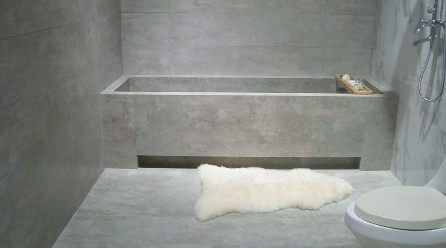 This Bath Has Been Created Using Thin Porcelain Concrete Effect Light Grey Tiles With A Structured Finish