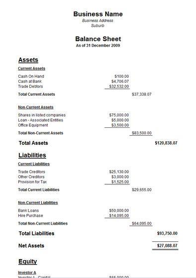 Sample Of A Balance Sheet Free Sample Balance Sheet Template  Blank Balance Sheet Template