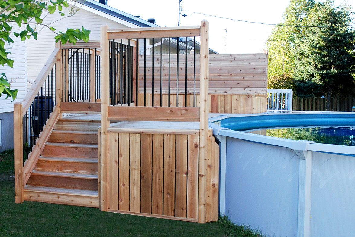 Deck piscine piscine pinterest piscines ext rieur for Plan de patio exterieur en bois