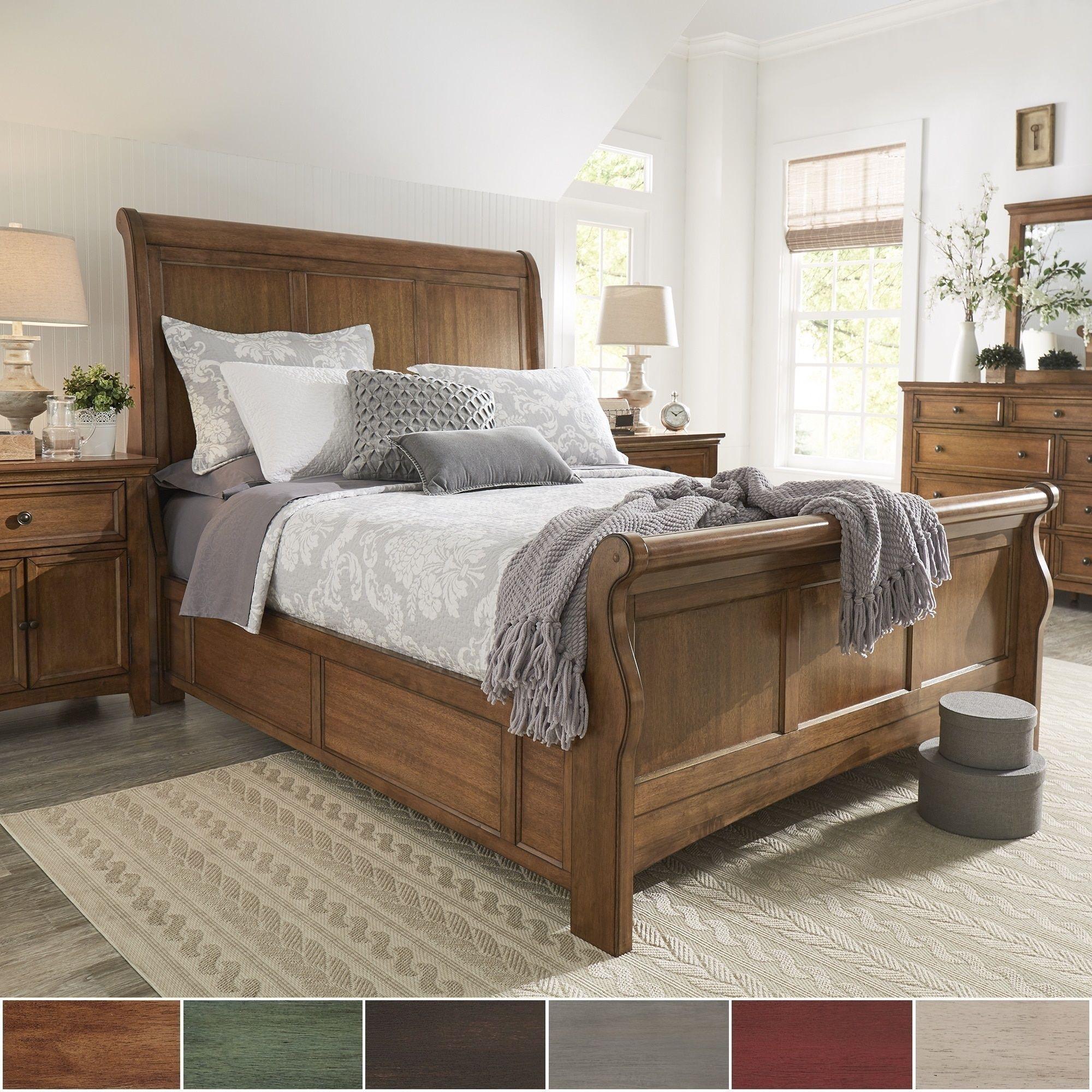 Best Ediline Queen Size Wood Sleigh Platform Bed By Inspire Q 640 x 480