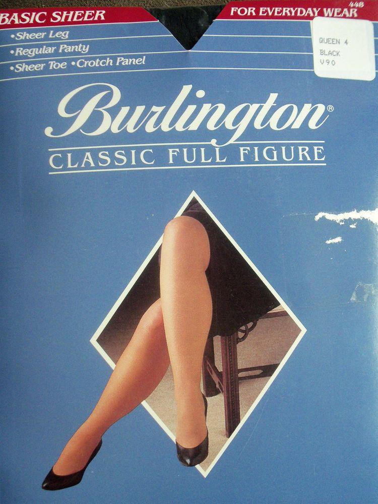 76833ee97b7 BURLINGTON FULL FIGURE PLUS SIZE QUEEN 4 SHEER BLACK PANTYHOSE NYLONS  STOCKINGS  BURLINGTON  Pantyhose