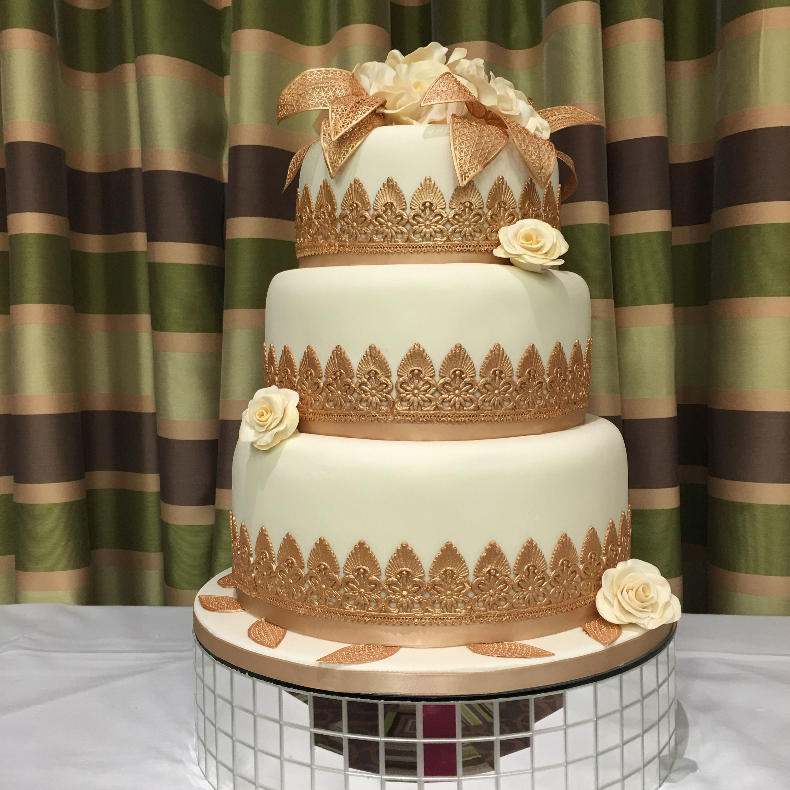 Ivory And Gold Wedding Cake Cake Yummy Cakes Novelty Cakes