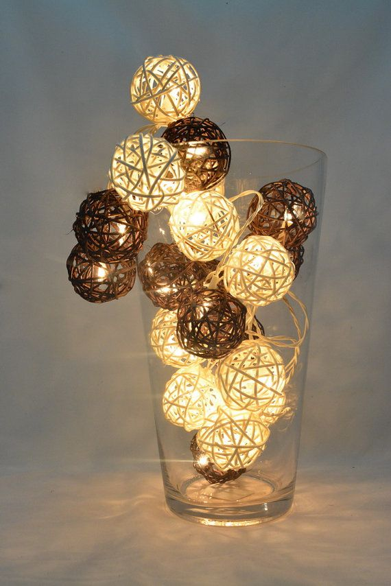 Decorative Rattan Balls 20 Lights  2 Color White And Darkbrown Rattan Ball String Lights