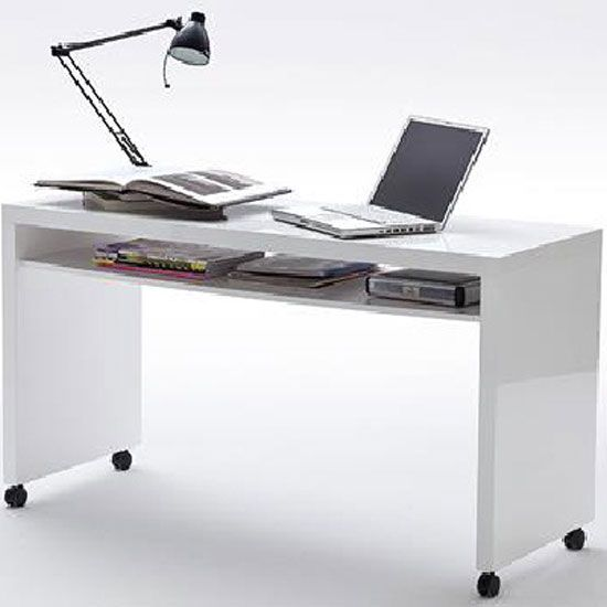 Mike Computer Desk In High Gloss Finish With Wheels And 1 Shelf