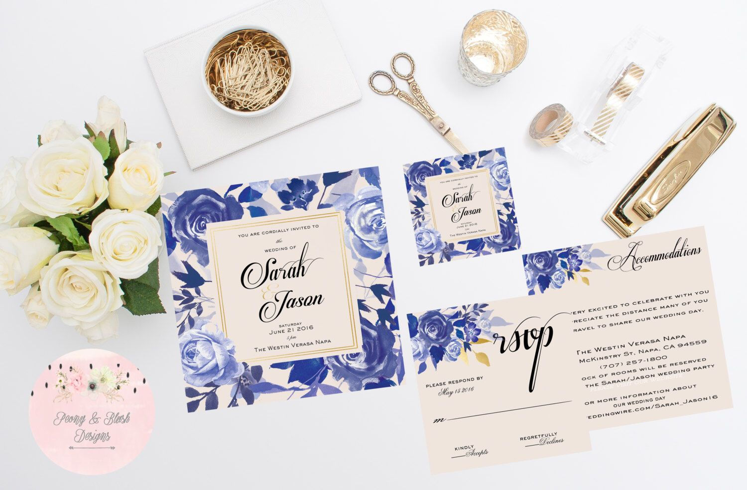 Blue And Gold Floral Wedding Invitation Suite Blue And Gold Wedding
