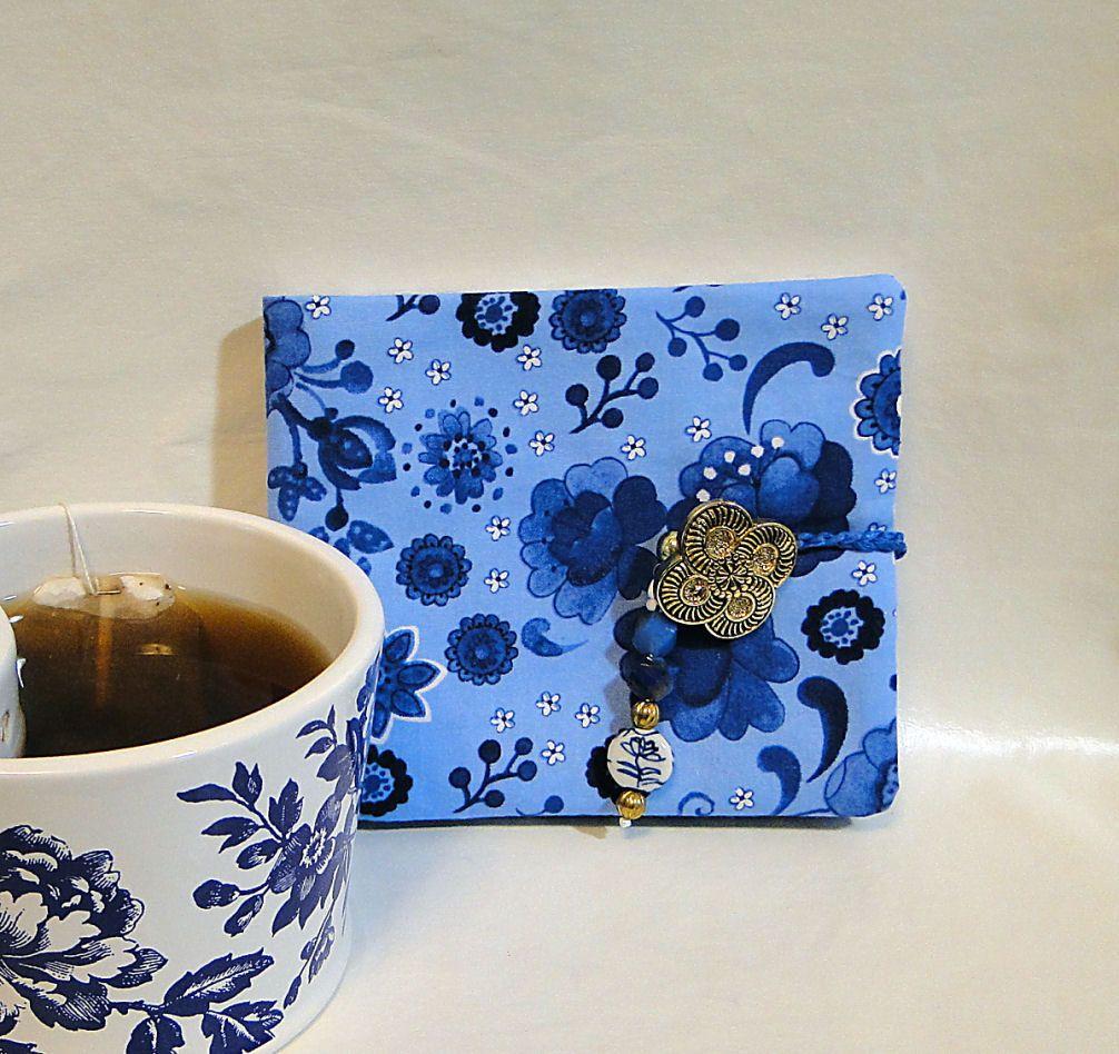 Tea Wallet, Blue, Tea Bag Wallet, Floral, Beads, Button