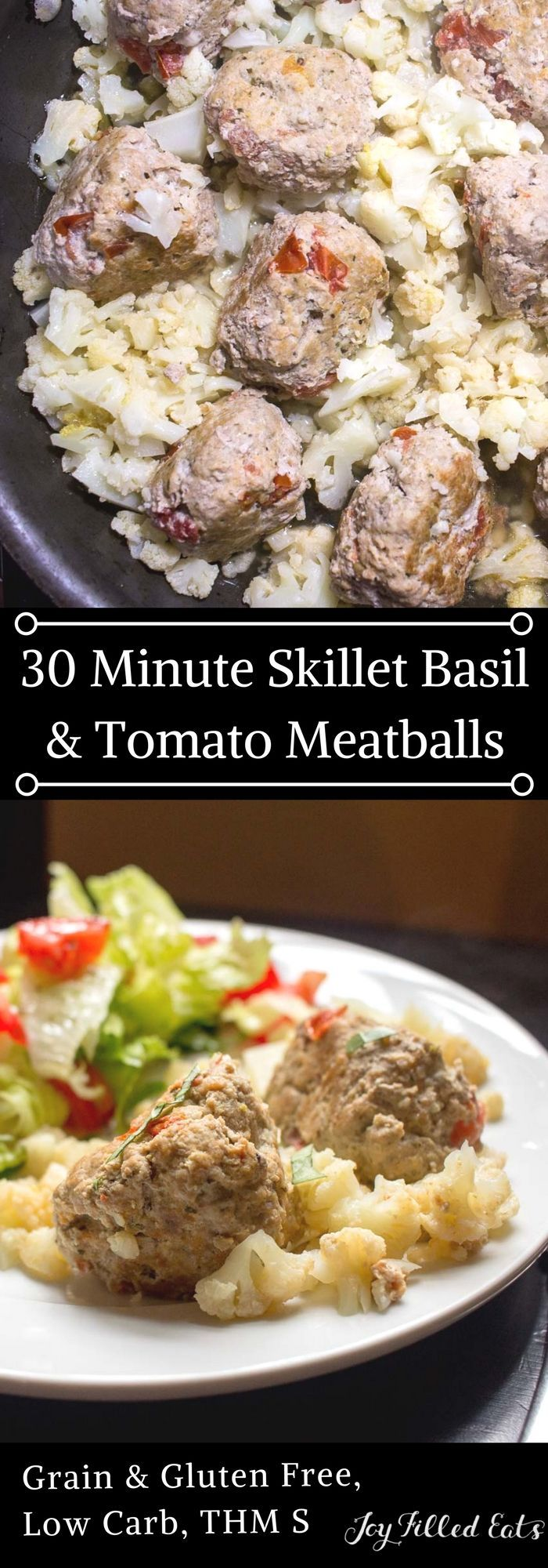 Skillet Basil & Tomato Meatballs - Low Carb, Grain & Gluten Free, THM S - Skillet Basil & Tomato Meatballs are a perfect one pan thirty-minute meal. They are moist, flavorful, and kid approved.        via @joyfilledeats