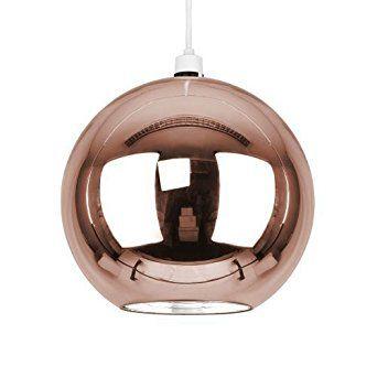 Stunning Modern Copper Rose Gold Effect Brown Gl Ball Ceiling Pendant Light Shade Co Uk Lighting
