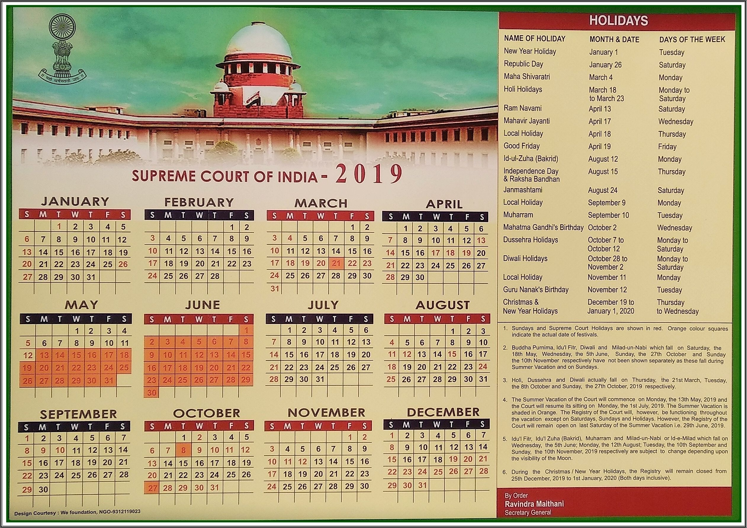 Calendar Supreme Court Of India Get Check More At Https
