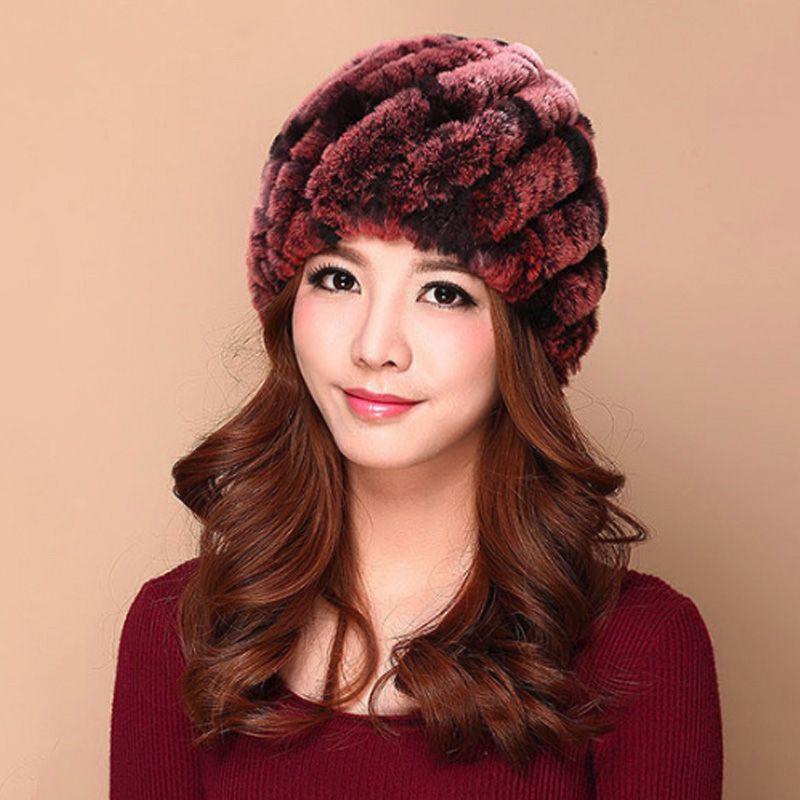 c09a88ce190 Luxury Autumn Winter Women Genuine Real Knitted Rex Rabbit Fur Hats  Handmade Lady Warm Caps Female