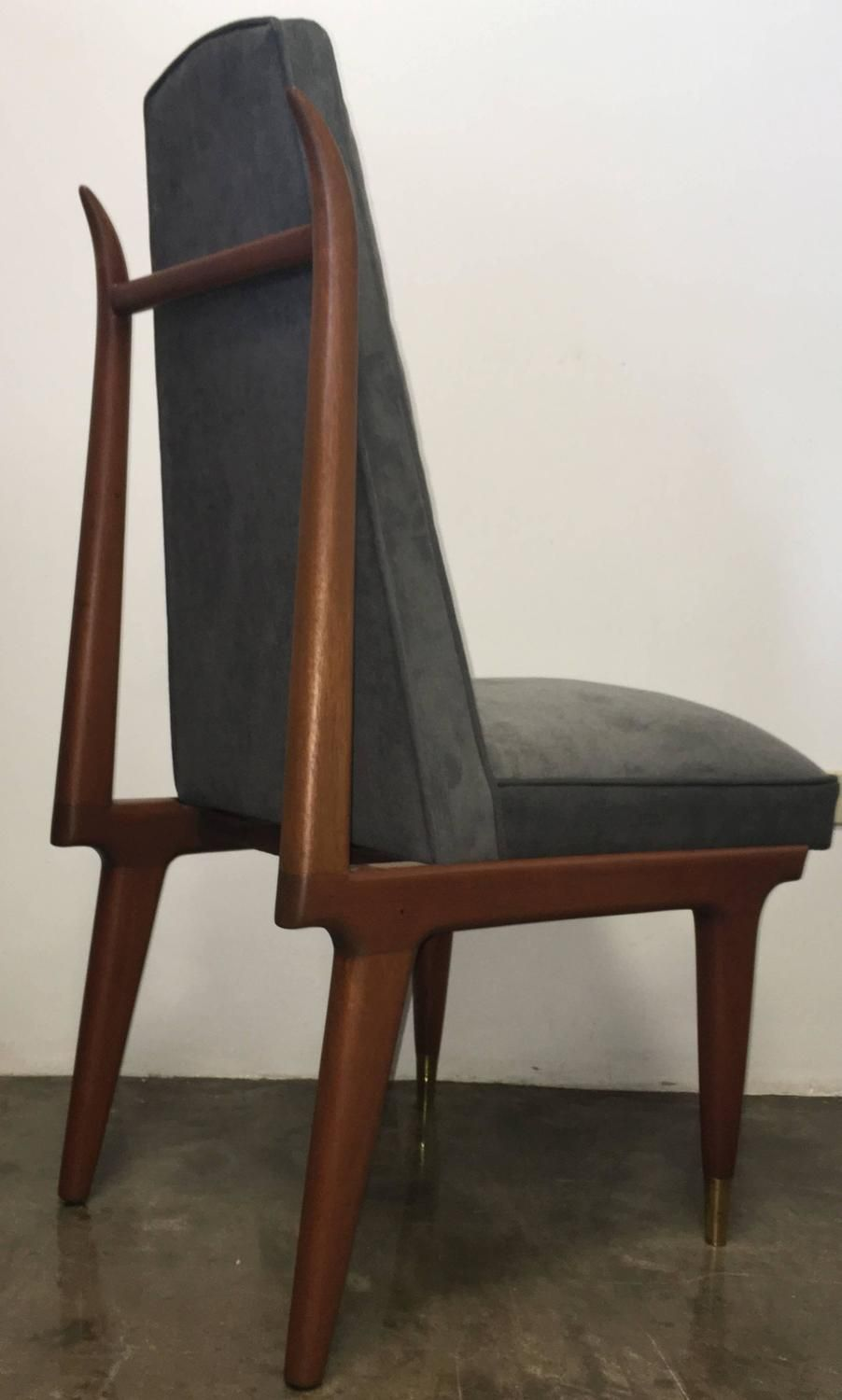 Set Of Six Eugenio Escudero Sculptural Mahogany Dining Chairs