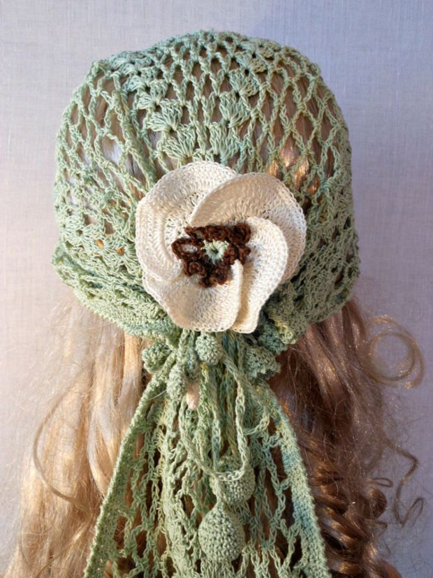 Woman Lace Crochet Vintage Style Green Headband Dreadlock Hair Snood