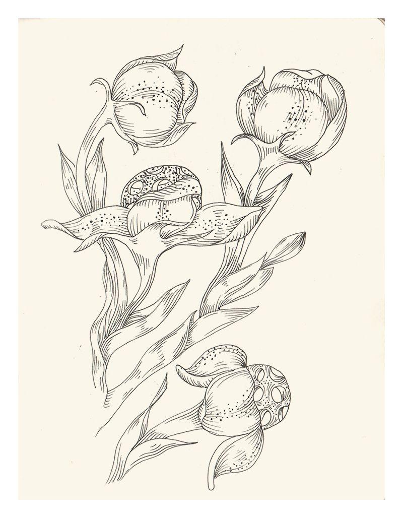 Apunte para estampado floral de Rosa Marín Ribas