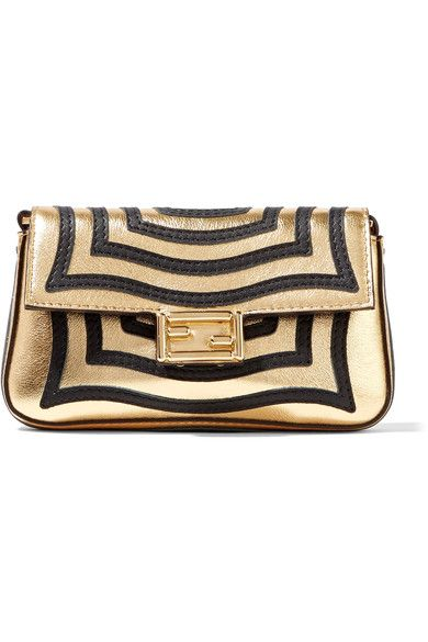 Fendi - Baguette Micro Appliquéd Metallic Textured-leather Shoulder ... d49638a635abc