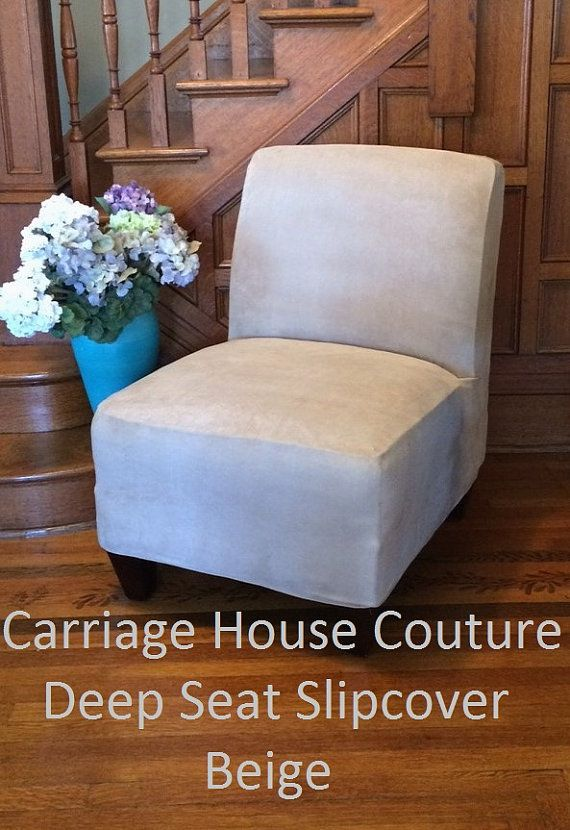Slipcover Beige Suede Chair Cover For By Carriagehousecouture