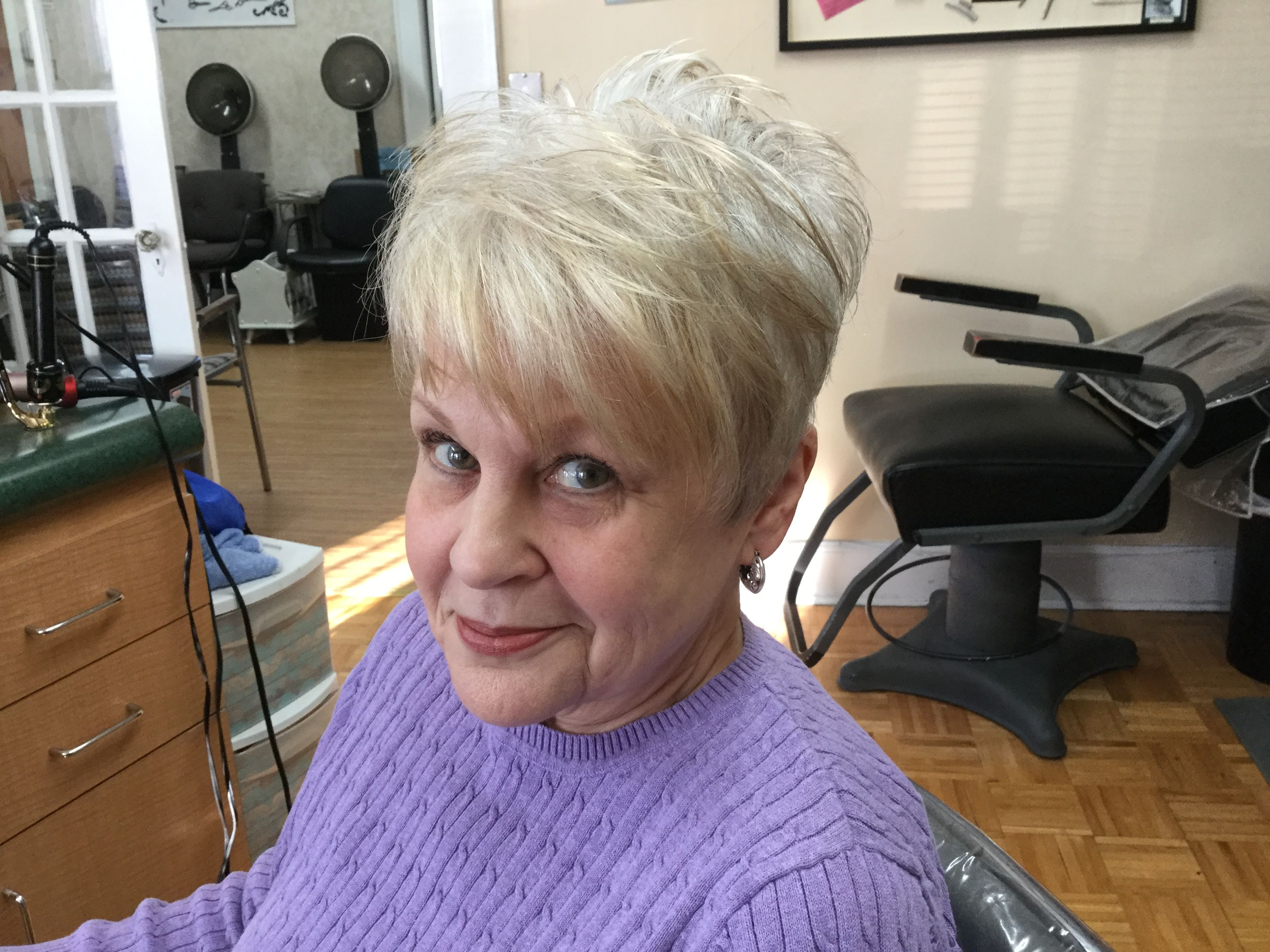 Razor cut pixie on grey hair short hair styles