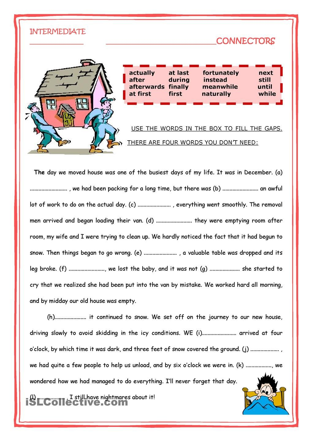 worksheet Worksheets On Connectors In English Grammar conecctors connectors pinterest english worksheets and activities worksheet free esl printable made by teachers